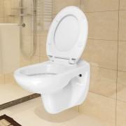 vidaXL Závesná toaleta, pomalé sklápanie, keramická, biela