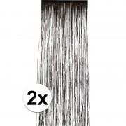 Merkloos 2x Zwart versiering deurgordijn