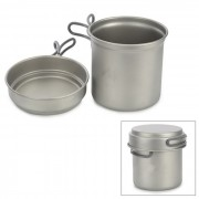KP6013 Titanium Pot w / Plate Set - Gris Plateado (1.2L)