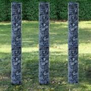 Комплект градински габиони - 3 броя [pro.tec]®, 25 x 25 x 200cm, Сребристи