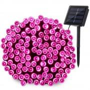 Napelemes LED fényfüzér zöld vezetékes pink – 50