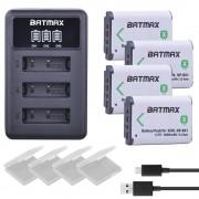 4X NP BX1 Bateria NP-BX1 Batterij + 3-Slots LED Charger voor Sony DSC RX1 RX100 AS100V M3 M2 HX300 HX400 HX50 HX60 GWP88 AS15 WX350