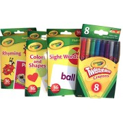 8 Twistable Crayons & 3 Pk Flash Cards- Sight Words, Colors & Shapes, Rhyming)