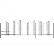 vidaXL Gard grădină cu vârf suliță inversat (1,5-1,75)x6 m oțel, negru