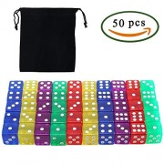 6-Sided Dice Innker 50Pcs Translucent Colored with Black Flannel Bag Colorful White Spot Game Set for Math Learning Games DIY Creating (5 Colors)
