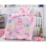 Lenjerie de pat Unicorni, din bumbac, pentru copii, 100 x 135 cm, 40 x 60 cm