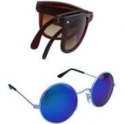 Brown stylish folding wayfarer Silver mercury sunglasses