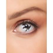 Vegaoo Kontaktlinsen Krähe Halloween Make-up weiss-schwarz
