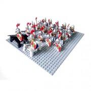 Generic 24pcs Knights Templar Medieval Age Castle Knights Lion Golden Dragon Slive Hawk Building Block Rome Warrior Knight Figure Red Lion Set