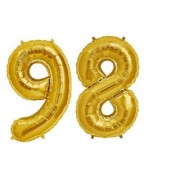 De-Ultimate Solid Golden Color 2 Digit Number (98) 3d Foil Balloon for Birthday Celebration Anniversary Parties