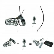 Electro shock set chastity cock cage SM bondage device CB6000 metal anal butt plug penis ring electric stimulation male sex toy