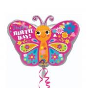 Balon folie fluturas Happy Birthday 45 cm