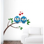 EJA Art bird in love Wall Sticker (Material - PVC) (Pec - 1) With Free Set of 12 pec butterflies sticker