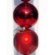 Set 6 globuri rosii mari, 10cm