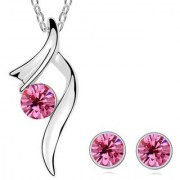 Om Jewells Lips Pink Solitaire Crystal Pendant Necklace Set with Chain for Women Girls PS1000721