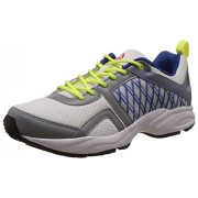 Reebok Men's Smooth Flyer 2.0 White, Flat Grey, Blue, Neon Yellow and Black Running Shoes - 9 UK