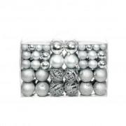 vidaXL Комплект коледни топки от 100 части, 6 см, сребро