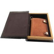 Set cadou caseta carte si Portofel personalizabil piele naturala Friedrich Made in Germany