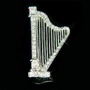 Celtic Harp Swarovski Crystal Brooch for Fairy Irish Wedding