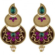 Spargz Antique Gold Plated Multicolor AD Stone Long Indian Style Enamel Work Chandbali Earrings For Women AIER 1351
