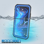 10m IP68 Waterproof Shock/Dirt/Snow Back Case for iPhone XS Max 6.5 inch with a Kickstand - Black / Blue
