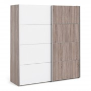 Venice Wardrobe Collection Sliding Wardrobe 180cm in Truffle Oak with White and Truffle Oak doors with 5 Shelves Self Assembly
