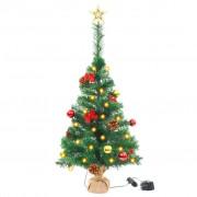 Sonata Изкуствена елха, украсена с играчки и LED лампи, 64 см, зелена