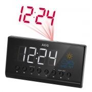 AEG MRC 4141 P - Radio reloj despertador digital con proyector, estación meteorológica, temperatura, pantalla 15.5 cm