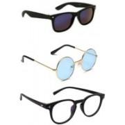 SO SHADES OF STYLE Round, Wayfarer, Retro Square Sunglasses(Black, Blue, Clear)
