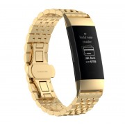Stylish Stainless Steel Watch Band Replacement for Fitbit Charge 3 - Gold