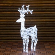 Luci Da Esterno Renna h 120 cm con cristalli bianchi, 250 LED luce bianco freddo luce fissa