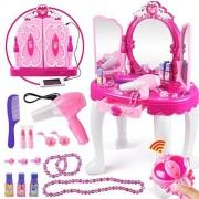 Girls Dressing Make Up Table Kids Toy Vanities Mirror Pretend Makeup Vanity Table Set