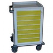 carrello multifunzione in acciaio - con 7 cassetti - serratura - 67x63