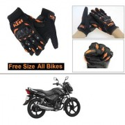 AutoStark Gloves KTM Bike Riding Gloves Orange and Black Riding Gloves Free Size For TVS Star City