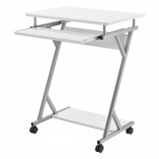 [en.casa]® Mesa de ordenador - 60 x 40 x 75 cm - Mesa de oficina - Mesa escritorio - Bandeja extensible para teclado - Con almacenamiento - Con ruedas - Blanco