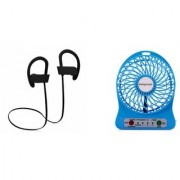 Orenics Combo Of QC-10 Wireless Bluetooth Headset With Mini Portable Usb Rechargeable Speed Fan Multicolor