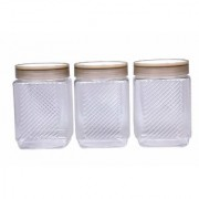 Nucleya Retail 3 Piece Plastic Container Set Plastic Container Set for Kitchen Use 500 ml (Black )