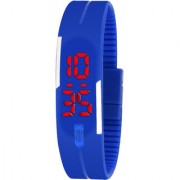 SKEMI Blue Color Rubber Jelly Slim Silicone Sports Led Smart Band Watch - For Boys Girls (Pack of 1)