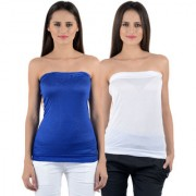 NumBrave Womens Blue White Tube Top (Combo of 2)