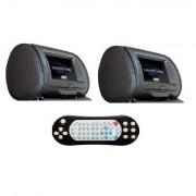 HSHM9DD HARDSTONE Poggiatesta (Coppia ) pelle nera con monitor Alta definizione + lettore DVD USB SD 800x480