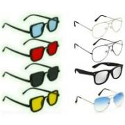 STAR DARK Aviator, Rectangular, Wayfarer Sunglasses(Black, Red, Blue, Yellow, Clear, Silver)