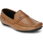 White Walkers Men's Tan Leather Loafers Shoes