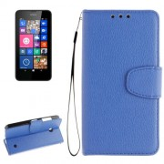For Nokia Lumia 630 / 635 Litchi Texture Horizontal Flip Leather Case with Holder & Card Slots & Wallet & Photo Frame & Lanyard(Blue)