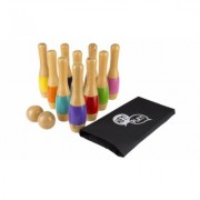 Lawn Bowling Game/Skittle Ball- 10 Wooden Pins, 2 Balls, & Bag Set by Hey! Play! Multi-color Multi-color - 9.5