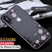 KAVARO Floret Authorized Swarovski Electroplating PC Hard Case for iPhone XS Max 6.5 inch - Black