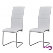 vidaXL Blagovaonske Stolice 2 kom Cantilever Bijele