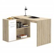 CARO-Möbel Eckschreibtisch LENA mit Regal in Sonoma Eiche/weiß