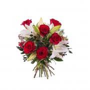 Arreglo de rosas con Liliums - Flores a Domicilio