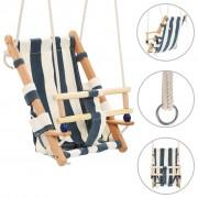 vidaXL Balançoire pour bébé avec ceinture de sécurité Coton Bois Bleu