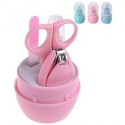 Toys Factory 4-in-1 Baby Grooming Kit - 1 Nail Scissors 1 Nail Clipper 1 Nail File 1 Tweezer - Grooming Manicure Set